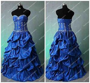 Custom Made Luxury Silver Embroidery Royal Blue Ball Gown ...