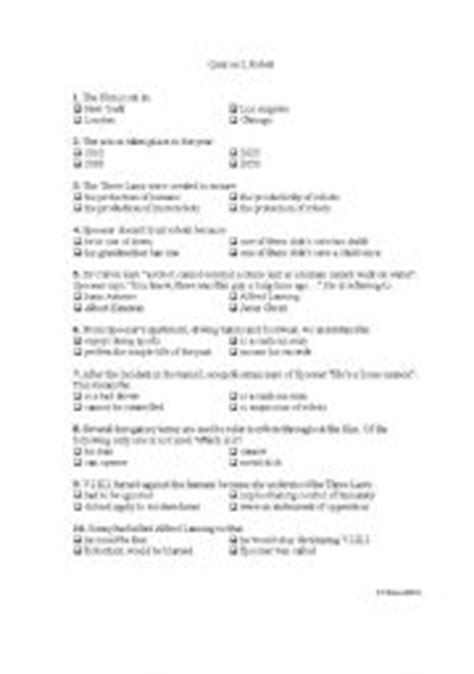 "Quiz on the film ""I, Robot"" - ESL worksheet by poorpete"