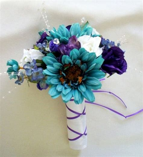 teal wedding bouquet teal wedding accessories bouquet purple boutonniere by 7931