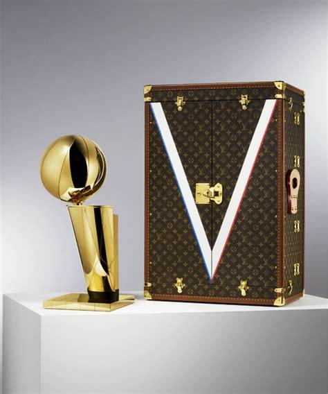 louis vuitton  nba unveil blue velvet lv monogramed travel trophy case