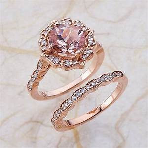Vintage Bridal Set Morganite Engagement Ring and Scalloped