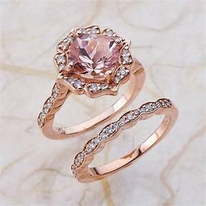 vintage bridal set morganite engagement ring and scalloped With pink gold wedding ring sets