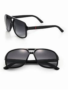 Lyst - Gucci 1115 59mm Mirror Aviator Sunglasses in Black ...