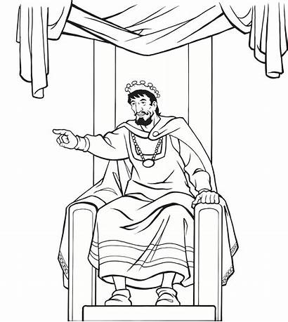 Throne King Coloring Medieval Pages Bible Drawing