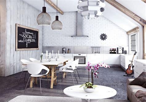 kitchen and dining interior design miysis painted white brick open plan kitchen living