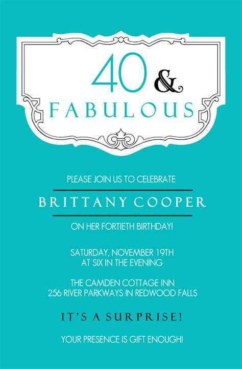 40th Birthday Invitations Teal and Fabulous 40th