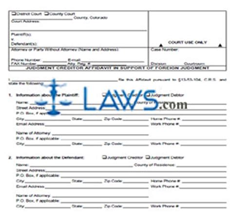 judgment creditor affidavit  support  foreign judgment