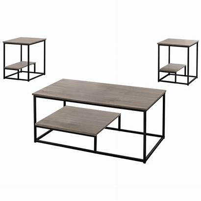 Coffee Dark Piece End Tables Taupe Metal