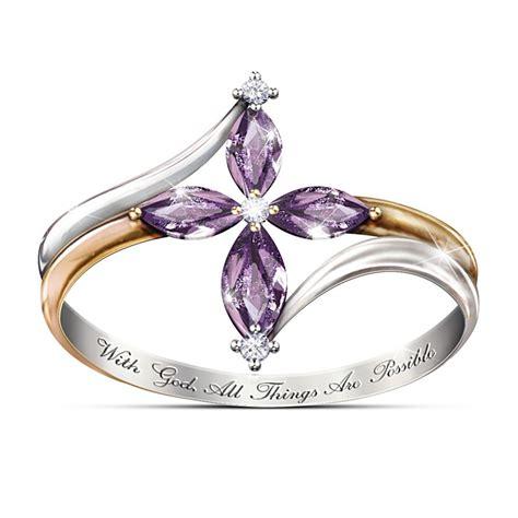 engraved heavenly grace genuine blue diamond cross ring