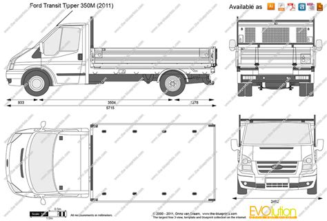 ford transit tipper  vector drawing