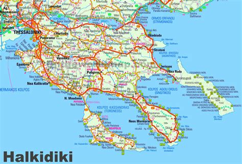large detailed map  halkidiki
