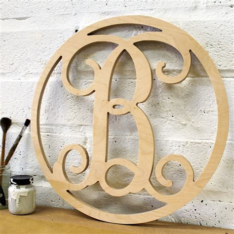 unpainted single framed monogram  wooden letters company