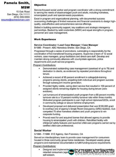 Sle Worker Resume by R 233 Sum 233 Exle For A Social Worker Or Similar Cv