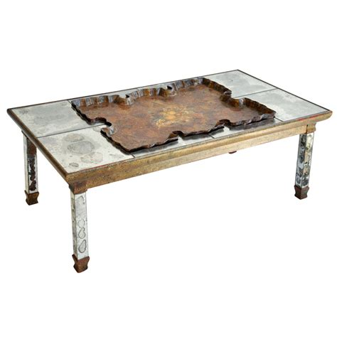 mirrored coffee table mirrored cocktail table with scalloped tray at 1stdibs