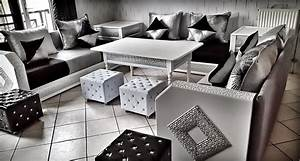 Salon Marocain Blanc : magnifique salon marocain blanc argent salons marocains ~ Nature-et-papiers.com Idées de Décoration