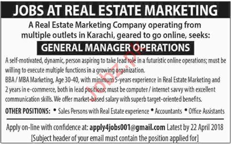 Real Estate Marketing Manager by General Manager Operations For Real Estate Marketing