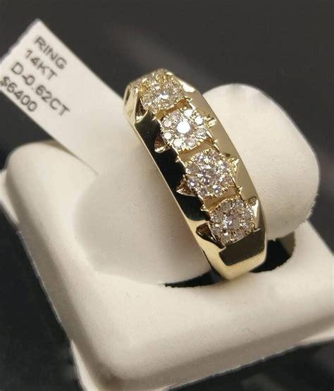 real 14k yellow gold mens diamond band engagement wedding ring tennis ebay