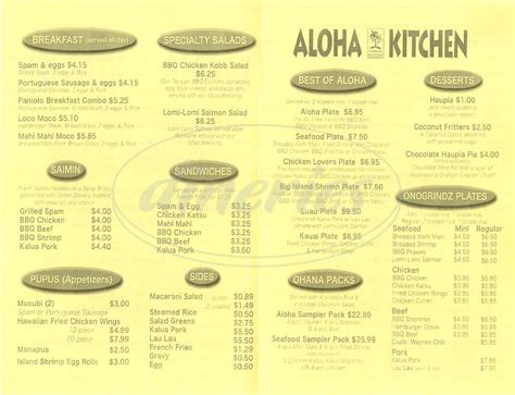 aloha kitchen menu aloha kitchen menu san leandro dineries