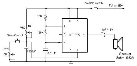 electronic siren based ne circuit schematic