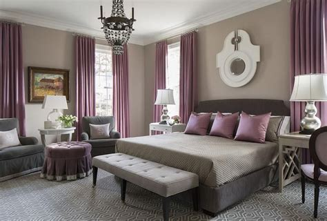 Schlafzimmer Lila Grau by Purple And Gray Bedroom Features Walls Painted Warm Gray