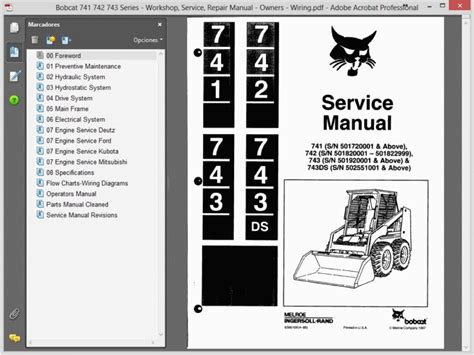 bobcat 741 742 743 series service manual owners wiring
