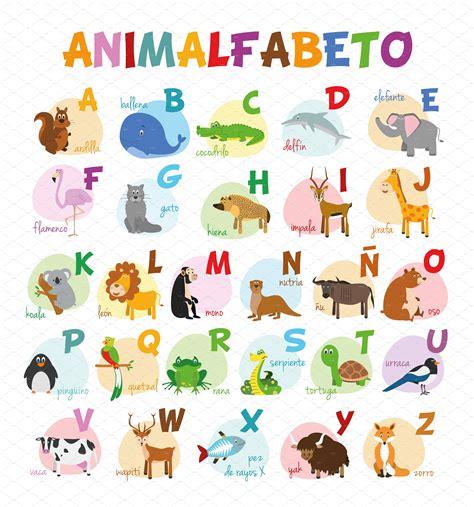 spanish animal alphabet vector  asantosg