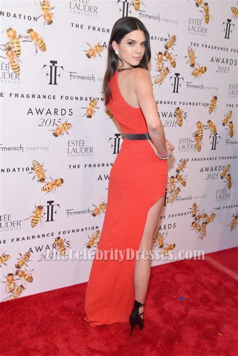 kendall jenners  sleeve red high slit dress fragrance