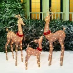 lighted family deer display christmas outdoor decor yard art display 3 piece set ebay