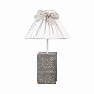 Tischlampe Vintage Shabby : tischlampe vintage love wei grau mit verziertem betonfu ~ Watch28wear.com Haus und Dekorationen