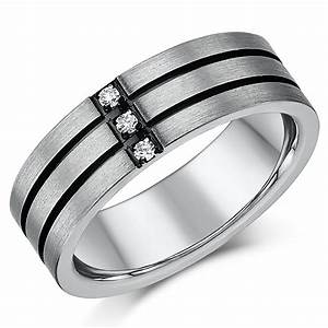 His hers 57mm titanium three diamond black grooved for Wedding ring sets uk
