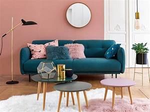 Idée Déco Salon Pas Cher : des id es pour un salon en bleu et rose joli place ~ Zukunftsfamilie.com Idées de Décoration