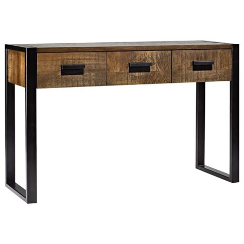 industrial metal console table atelier industrial chic wood console table with metal