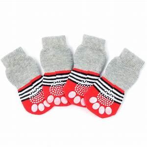 cute knitted non slip gripper animal dog socks medium With dog grip socks