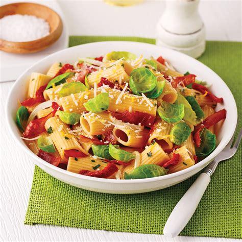 cuisine choux rigatonis aux choux de bruxelles tomates séchées et