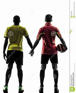 Two Men Soccer Player Standing Hand In Hand Silhouette ...