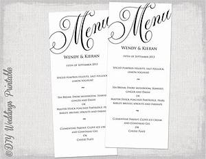 menu template black and white wedding menu diy wedding menu With wedding menu samples templates