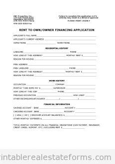 rental owner finance application printable real