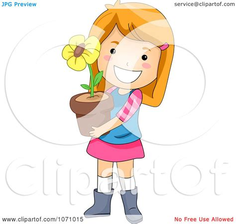 clipart happy girl holding  potted flower royalty