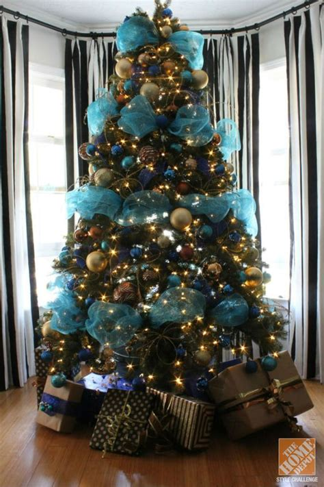 christmas tree decorating ideas turquoise blue bronze
