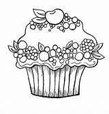 Cupcake Coloring Cupcakes Pages Printable Cherry Birthday Berry Fruit Happy Colouring Clipart Cakes Kleuren Kleurplaat Kleurplaten Library Popular Netart Clip sketch template