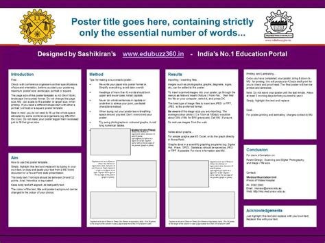 Poster Presentation Template Professional A3 Templates For Project Poster Presentation