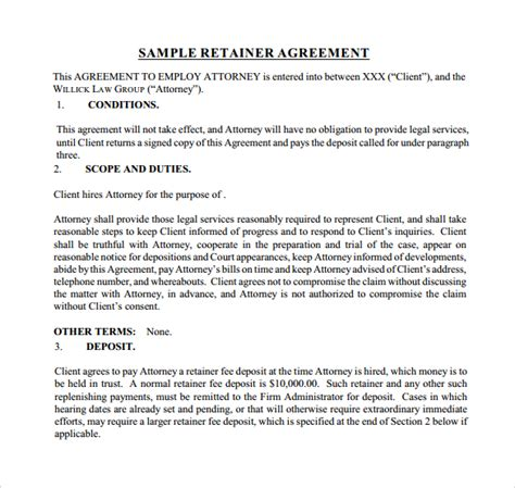 retainer agreement template 10 free sle retainer agreement templates sle templates