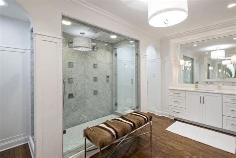 Two Shower Bathroom by Walk Through Showers Transitional Bathroom