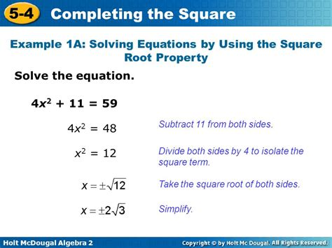 Objectives Solve Quadratic Equations By Completing The Square  Ppt Video Online Download