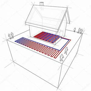 Heat Pump  Underfloor Heating Diagram  U2014 Stock Vector