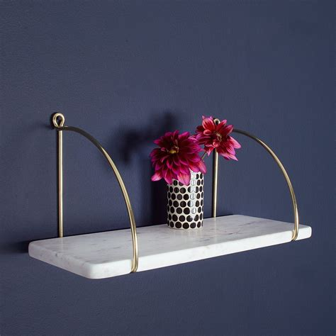 Small White Shelf by Small White Marble Shelf With Gold Brackets Audenza