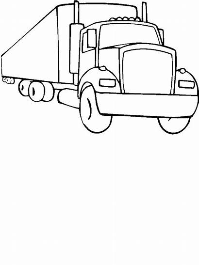 Coloring Semi Truck Wheeler Illustration Pages Colored
