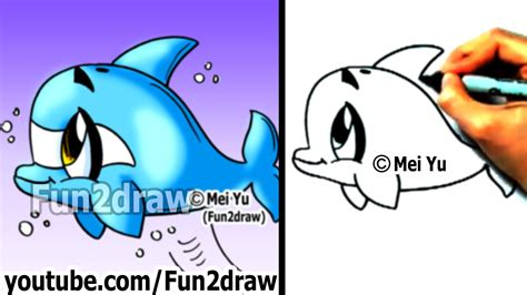 draw  cartoon dolphin   min cute drawings