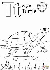 T is for Turtle coloring page | Free Printable Coloring Pages