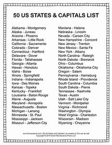 Printable States And Capitals List